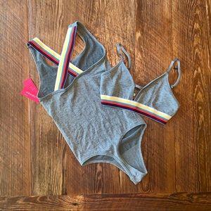 NEW Target XS rainbow grey bralette & bodysuit